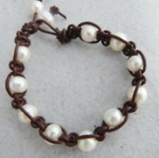 "Dark brown 8"" 9-10mm freshwater pearl Braided Genuine Leather Cord Bracelet YL"