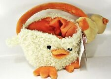 "CHICK BASKET w/ Clip-On Frog - 4"" tall basket 9"" including handle, 4"" clip-on"
