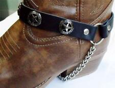 BLACK LEATHER TEXAS STAR BOOT CHAINS STRAPS BIKER WESTERN COWBOY BUCKLE