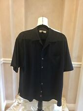 TWO PRISTINE BLACK TOMMY BAHAMA MENS SHIRTS Size M. 1. Silk- 1. in Linen /Cotton
