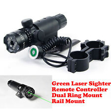 Tactical Green Dot Laser Adjustable Sight Rifle Pointer Rail Use Remote Switch