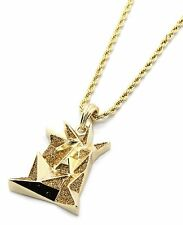 """Mens 14k Gold Plated Stardust Jesus Tombstone Pendant Hip-Hop 24"""" Rope Chain"""
