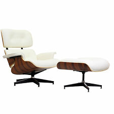Eames Recliner Lounge Chair & Ottoman Palisander White Italian Leather