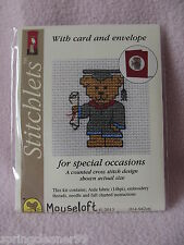 MOUSELOFT STITCHLETS CROSS STITCH KIT ~ GRADUATION TEDDY ~ CARD & ENVELOPE ~ NEW