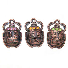 40pcs New Vintage Red Copper Colorful Rhinestone Beetle Alloy Pendant Findings L