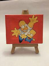 Miniatura Quadro 9x7 Cm Homer E Bart Simpson Con Cavalletto