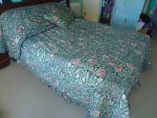 art nouveau sheridan bedspread queen size and cushion green pink flowers tulips