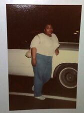 Vintage 70s Found PHOTO Woman In Mom Jeans & Purse With Short Strap By Old Car