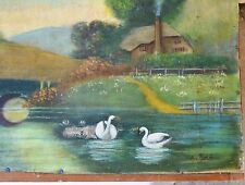 Antique 19th Century Europe Landscape Oil Painting Swans Lake Mountain Cottage!