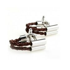 Brown Braid Leather Faux Wrap Around Vintage Cufflinks