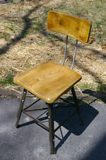 Vintage Solid Maple Wood Steel Industrial Drafting Art Adjustable Stool Chair