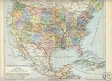 1898= UNITED STATES and MEXICO = Antica Mappa = OLD MAP
