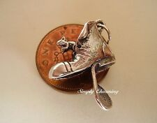 BEAUTIFUL  ' MOUSE IN OLD BOOT '  STERLING SILVER CHARM CHARMS