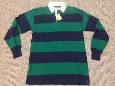 ST. JOHNS BAY men's rugby polo long sleeve SHIRT green/blue (size M ) new
