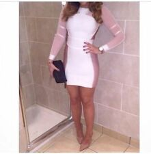 NWT House of CB Celeb Boutique Lourdes Forever Pink White Unique Bandage Dress M