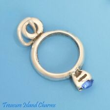 SEPTEMBER BIRTHSTONE RING with BLUE CZ 3D .925 Solid Sterling Silver Charm