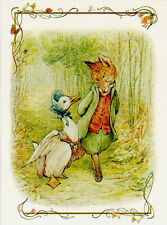 DUCK AND FOX ON THE WALK IN FOREST by Beatrix Potter Modern Russian card
