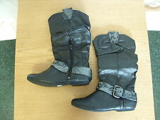 Ladies Boots No Doubt black faux leather, UK 4, EU 37, snake skin strap 3345