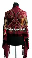 Stunning Beaded Silk Velvet Peacock Scarf Wrap Burgundy