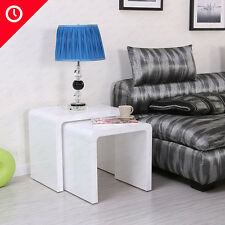 High Gloss White Nesting End Table Nest Set Of 2 Side Coffee Table Living Room