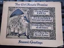 Vtg ANTIQUE Greeting Card CHRISTMAS  Girl Scouts  DATED:  1925