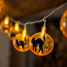 15 LED Orange & Black Cat Indoor Halloween Fairy String Lights Party Decoration