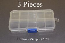 3x Adjustable 10 Compartment Slot Plastic Storage Box Jewelry Tool Container USA