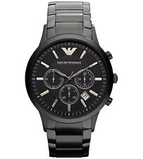 Emporio Armani AR2453 Classic Black Chrono Stainless Steel Mens Watch Nuevo
