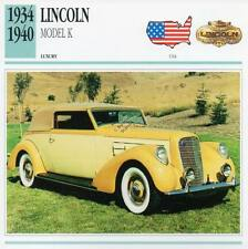 1934-1940 LINCOLN Model K Classic Car Photograph / Information Maxi Card