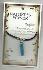 NATURE'S POWER TURQUOISE STONES PENDANT ON BLACK CORD WITH HEALING PROPERTIES