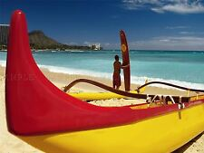 PHOTO SEASCAPE WAIKIKI BEACH HAWAII SEA OCEAN SAND CANOE POSTER PRINT BMP10426