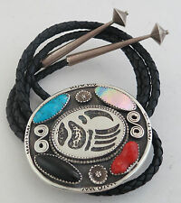 Extra Large Sterling Silver Multi Stone Bear Paw Themed Southwestern Bolo Tie