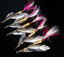 10PCS Fishing Fish Spinner Spoon Lure baits Fly Feather Treble Hook 10g