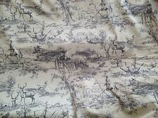 Hunt Hunting Scene Toile De Jouy Pheasant Horses Curtain Fabric Charcoal