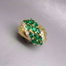 14k YG Natural  Emerald & Diamonds UNIQUE Ring Band cocktail swirl R3957