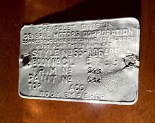 1955 Chevy Bel Air Nomad Cowl Tag Data Plate. Navajo Tan / India Ivory