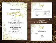 Wedding Invitations Glitter Confetti 50 Invitations & RSVP Cards Any Colors