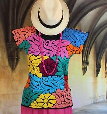 Hand Embroidered Huipil Blouse Medium, Jalapa Mexican Hippie Fiesta Cowgirl Boho