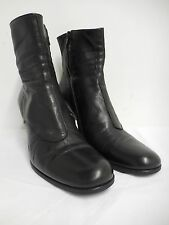 "Freelance ankle boots black leather with 3"" high heel & signature rose F38 UK4"