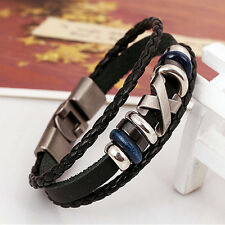 Fashion Punk Men Women Metal Studded Braided Leather Bracelet Wristband New