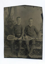 1880's-1890's TINTYPE PHOTO TWO HANDSOME BOYS HOLDING TENNIS RACKETS