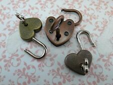 Vintage Antique Style Padlock Key Lock Heart Shaped (Assorted color) Lot of 3