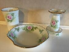 Vintage Look Bathroom Accessories Set / Toothbrush Holder, Soap Dish, & Cup Pink