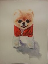 "9x12"" homemade original watercolor artwork cute lovely dog pomeranian Pet"