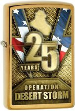 Zippo 2016 Catalog NEW Desert Storm 25 Anniversary Brushed Brass Lighter 29177