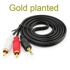 gold 3.5mm To 2RCA Audio Y Adaptor Cable Lead For Samsung Galaxy Tab Note Tablet