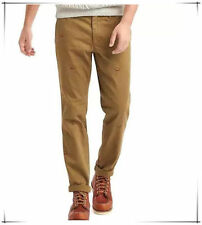 GAP Men's Slim Fit Khaki Brown Pants 36x32 NWT Embroidered Boot