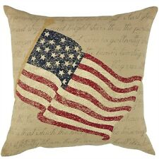 "STAR SPANGLED AMERICAN FLAG PILLOW : 20"" sq RED PATRIOTIC TOSS ACCENT CUSHION"