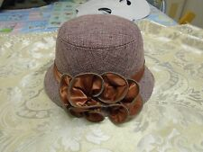 CLASSIC CLOCHE BROWN HAT WITH FRILLS AUTUMN WINTER size 57