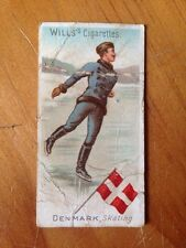 WILLS Navy Cut Cigarette Card SPORTS OF ALL NATIONS 1901 No 46 DENMARK, Skating